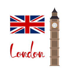 london concept big ben tower with flag and vector image