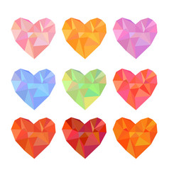 Low poly hearts set isolated on white background vector