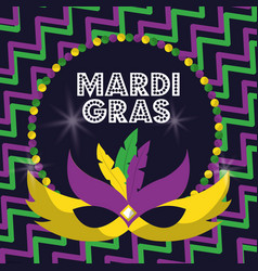 mardi gras carnival masks with feathers beads vector image