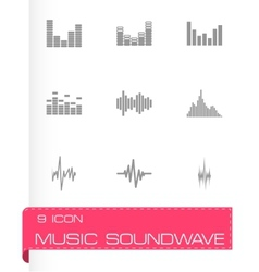 music soundwave icon set vector image