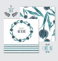 Oil painted floral cards set vector