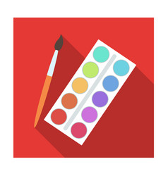 palette with paints and brush paint in school vector image