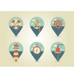 pin map icons marine vector image