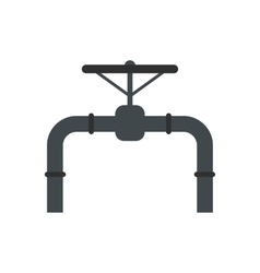 Pipeline with valve and handwheel flat icon vector image