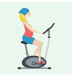 Pregnant girl on a stationary bike vector
