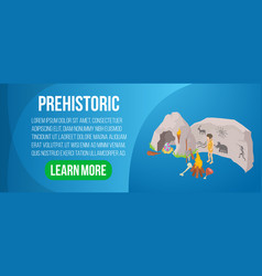 prehistoric concept banner isometric style vector image