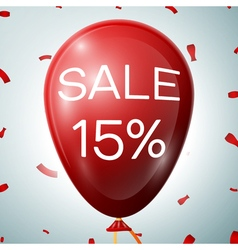 Red Baloon with 15 percent discounts SALE concept vector