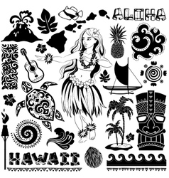 retro set hawaiian icons and symbols vector image