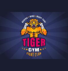 retro sport logo tiger fighter for fight club vector image