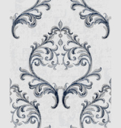 Rococo silver texture pattern with floral vector