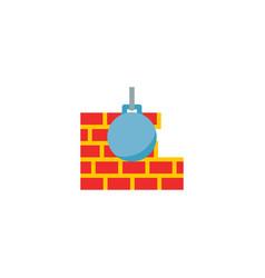 Ruining ball icon flat element vector
