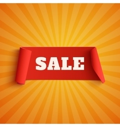 Sale red banner on orange background vector image