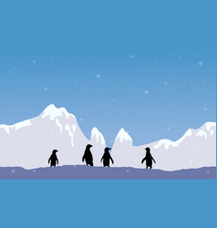 Scenery big snow mountain with penguin silhouette vector