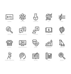 School subjects icon set in thin line style vector