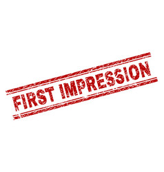 Scratched textured first impression stamp seal vector