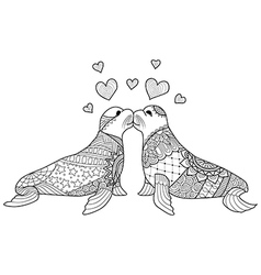 Seal kissing coloring book vector