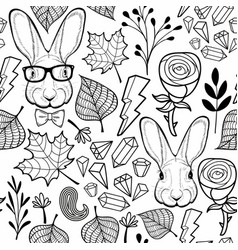 Seamles black and white pattern with rabbits vector