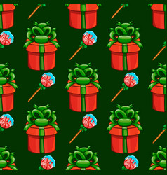 seamless pattern with gift box and candy vector image