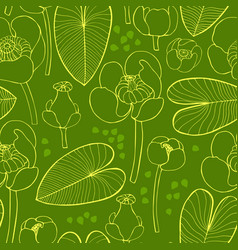 Seamless pattern with yellow water lilies sketch vector