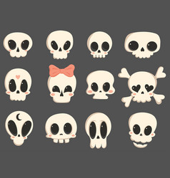 set cartoon skulls a collection cute skulls vector image
