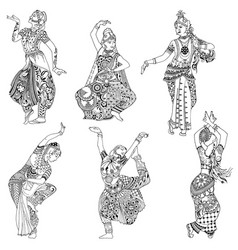 set indian dancers vector image