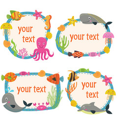 Set isolated frames with marine animals vector
