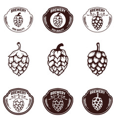 set of brewery emblems beer hope design elements vector image