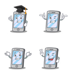 Set of iphone character with graduation wink vector