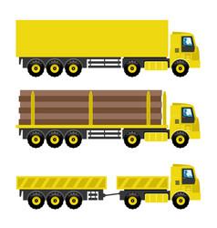 Set of yellow trucks vector