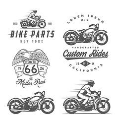 set vintage motorcycle design elements vector image
