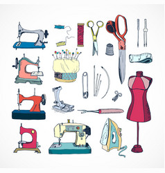 sewing tools kit color hand drawn vector image
