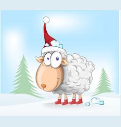 sheep christmas mascot cartoon on winter vector image