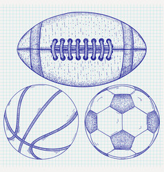 Sports balls hand drawn sketch vector