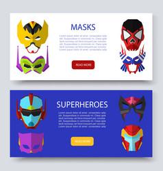superherous masks two horizontal banners vector image