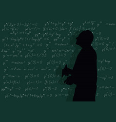 Teacher writes formulas at board vector