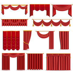 theather scene red blind curtain stage fabric vector image