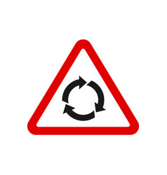 triangle roundabout traffic sign vector image