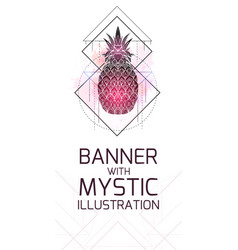 vertical card with mystical a pineapple with a vector image
