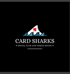 Vintage modern card and shark fin logo vector