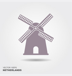 windmill icon silhouette vector image