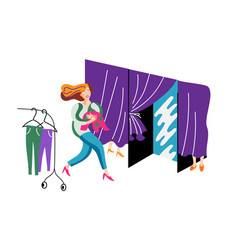 Woman running to fitting room vector
