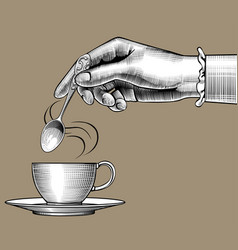 womans hand with a coffee cup and spoon vector image