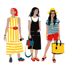 women s summer street style detailed female vector image
