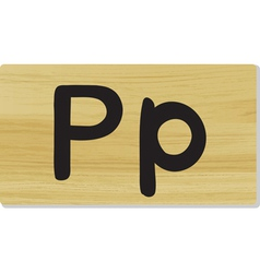 Wooden letter P vector