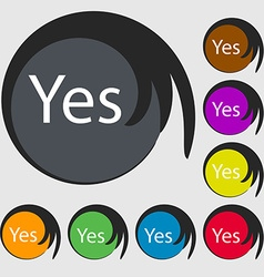 Yes sign icon Positive check symbol Symbols on vector