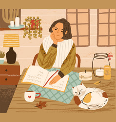 Young woman at table with sleeping cat cozy vector