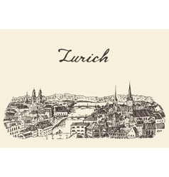 Zurich skyline drawn sketch vector