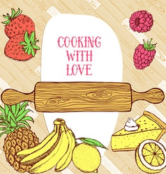 Cooking card on wooden pattern vector image