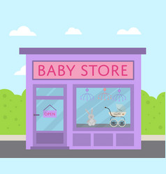 purple facade baby store building in flat design vector image vector image