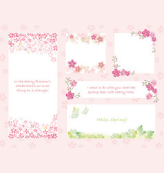 set of assorted spring greeting card template vector image